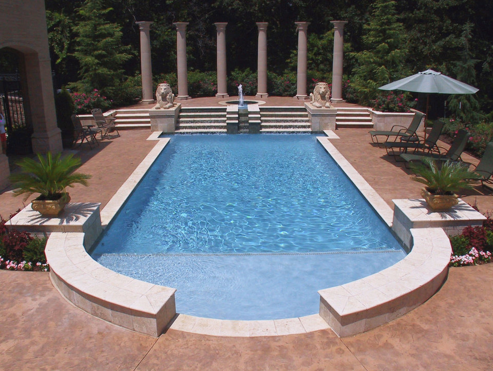 this pool from blue haven pools oklahoma city recently won a gold award for geometric pools