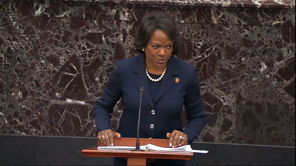 Photo -  In this image from video, aHouse impeachment manager Rep. Val Demings, D-Fla., speaks during the impeachment trial against President Donald Trump in the Senate at the U.S. Capitol in Washington, Thursday, Jan. 23, 2020. (Senate Television via AP)