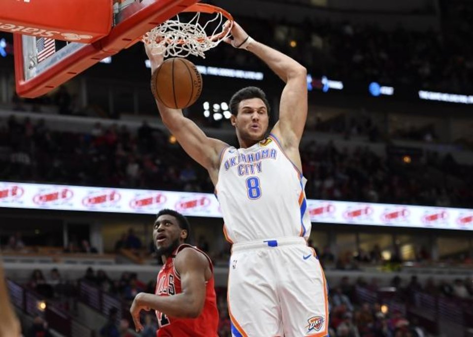 Photo -  Oklahoma City Thunder forward Danilo Gallinari dunks the basketball in the second half against the Chicago Bulls at United Center on tuesday night. [Quinn Harris/USA TODAY Sports]