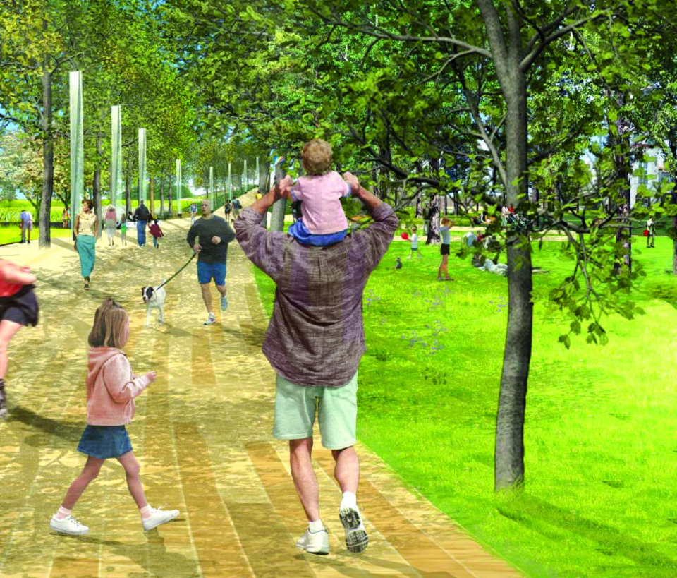 Photo -  A promenade will run the length of the park, starting at the Oklahoma River and reaching north to the streetcar line as it passes the new convention center. [City of Oklahoma City/Hargreaves Associates]