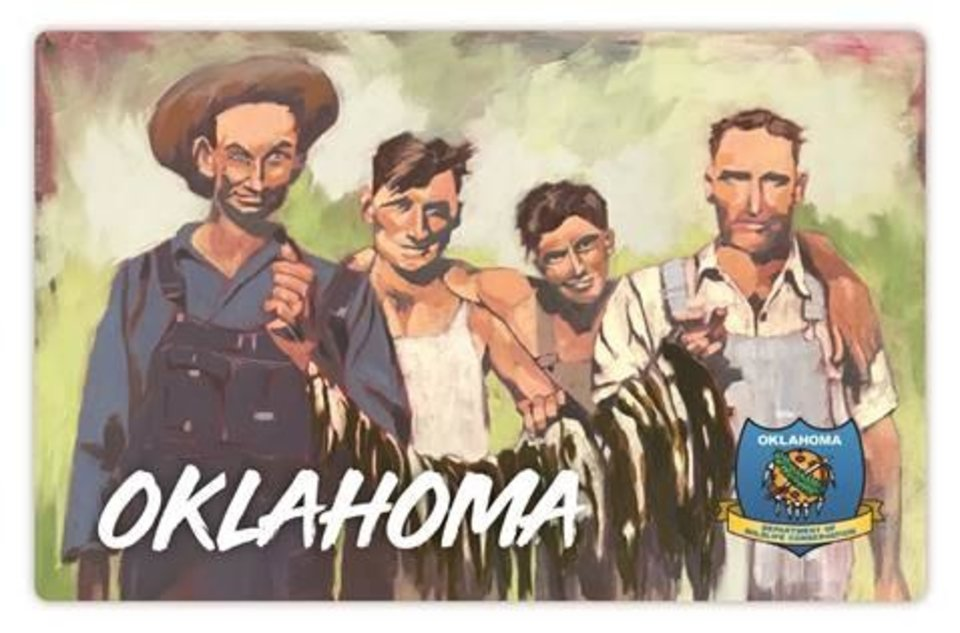 Photo -  This year's hard card for the state fishing license features artwork by Oklahoma City artist Lauren Florence. Her painting was based off a family photo from the 1930s in Oklahoma. [PHOTO PROVIDED]