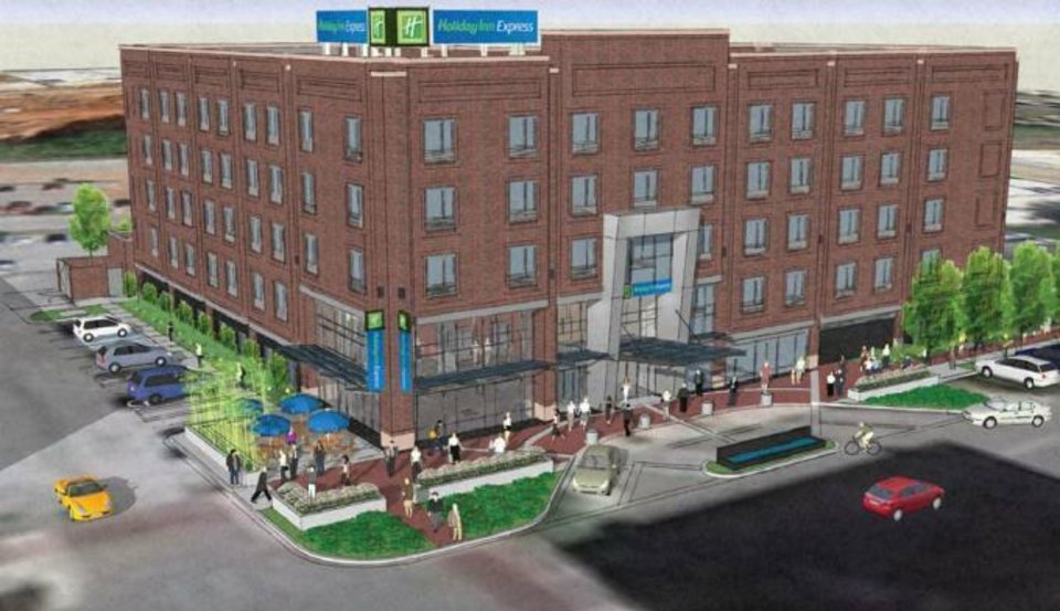 Photo -  RENDERING: The design for a proposed Bricktown Holiday Inn Express is shown in this drawing. DRAWING PROVIDED BY ARCHITECTURAL DESIGN GROUP        ORG XMIT: 1301222152523176
