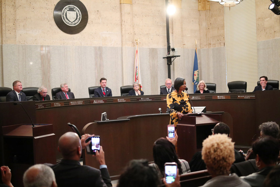 Photo - Nikki Nice addresses the crowd after being sworn in as new Ward 7 Oklahoma City Councilwoman, Monday, November 19, 2018.  Eight candidates filed Monday for Oklahoma City Council seats in the Feb. 12 primary election. [The Oklahoman archives]