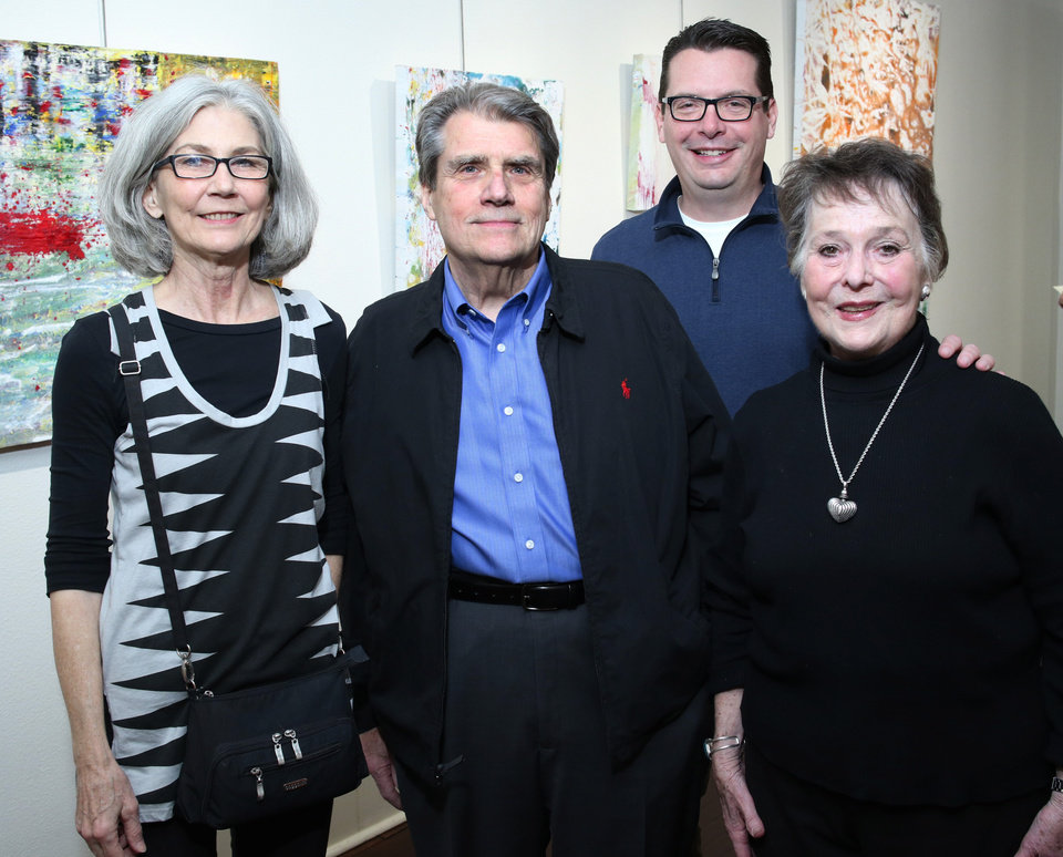 Photo - Sharman Addy, Tom Toperzer nd his son Max and wife Carol, at JRB Art at the Elms during Paseo First Friday Art Walk   Friday, March 3, 2017.  Photo by Doug Hoke, The Oklahoman