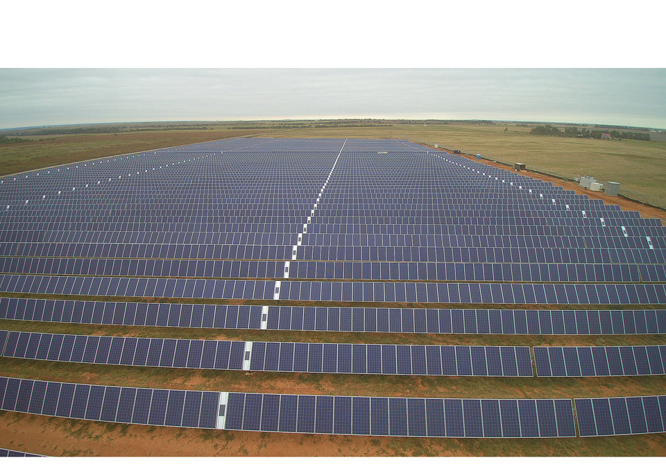 Photo -  The 3 megawatt Western Farmers-owned Pine Ridge solar generation facility, near Apache, was brought online in early 2017. [Photos provided by Western Farmers Electric Cooperative]