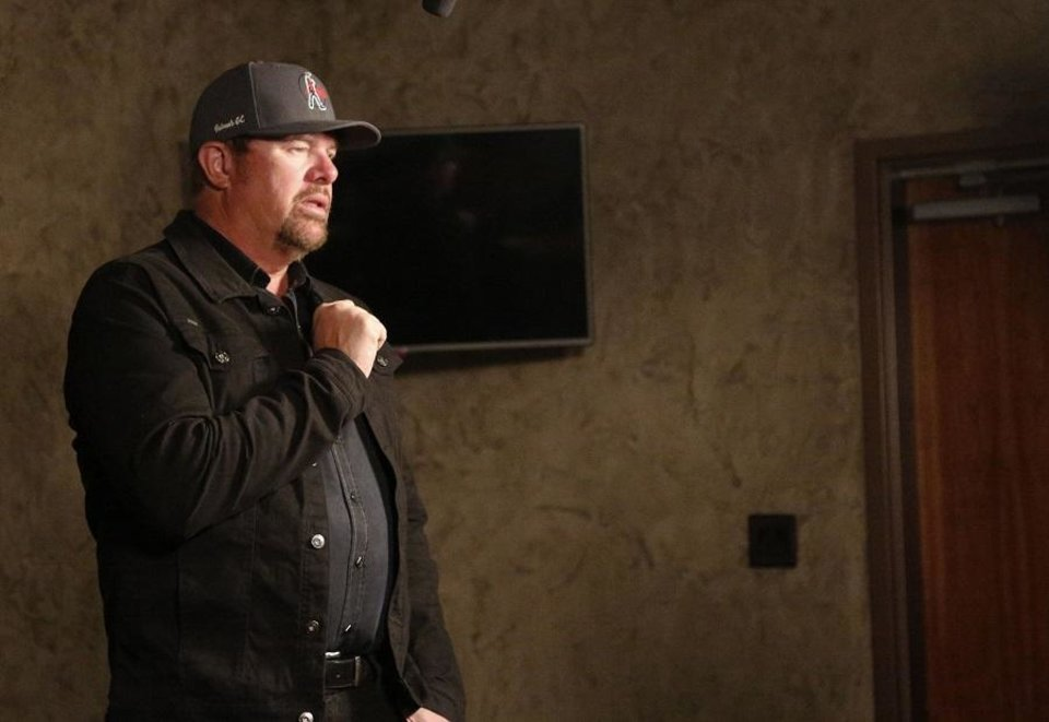 Photo - County music star Toby Keith speaks to the media backstage at the 2019