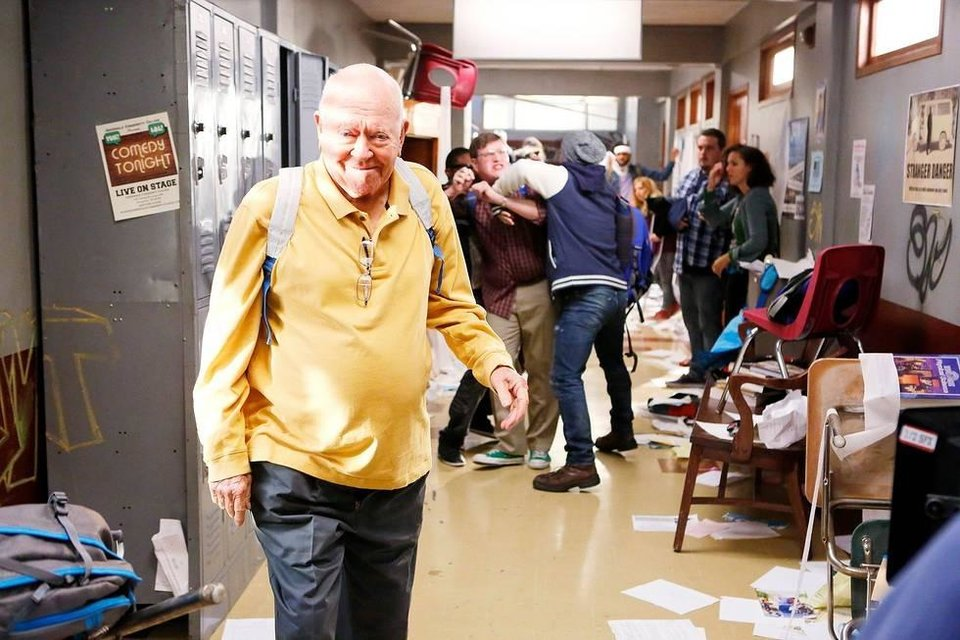 "Photo - Richard Erdman is shown on the set of ""Community.""  Photo provided by Sony Pictures Television"