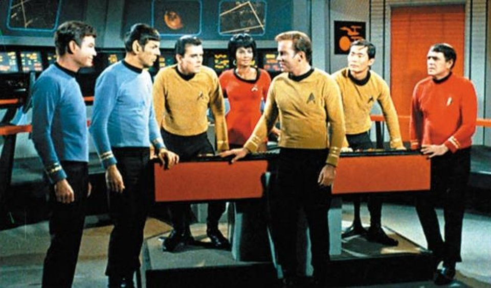 Photo -  Captain James T. Kirk, Spock and the rest of the starship Enterprise are shown in this scene from the 1960s TV show