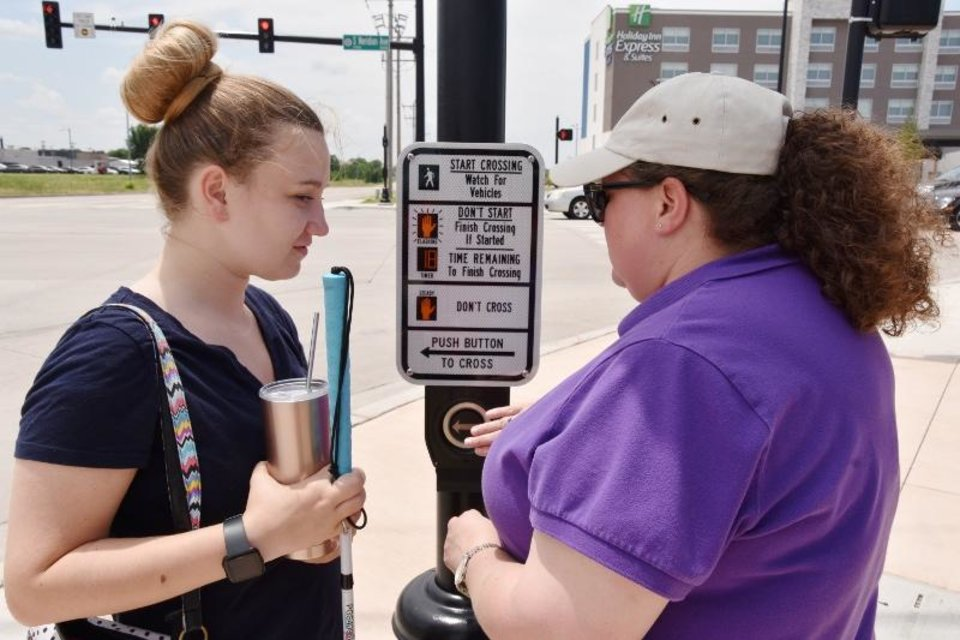 Photo - Andrea Hamen, right, works with Keys to Work participant Logan Kleck on Orientation and Mobility training. [PROVIDED/NEWVIEW OKLAHOMA]