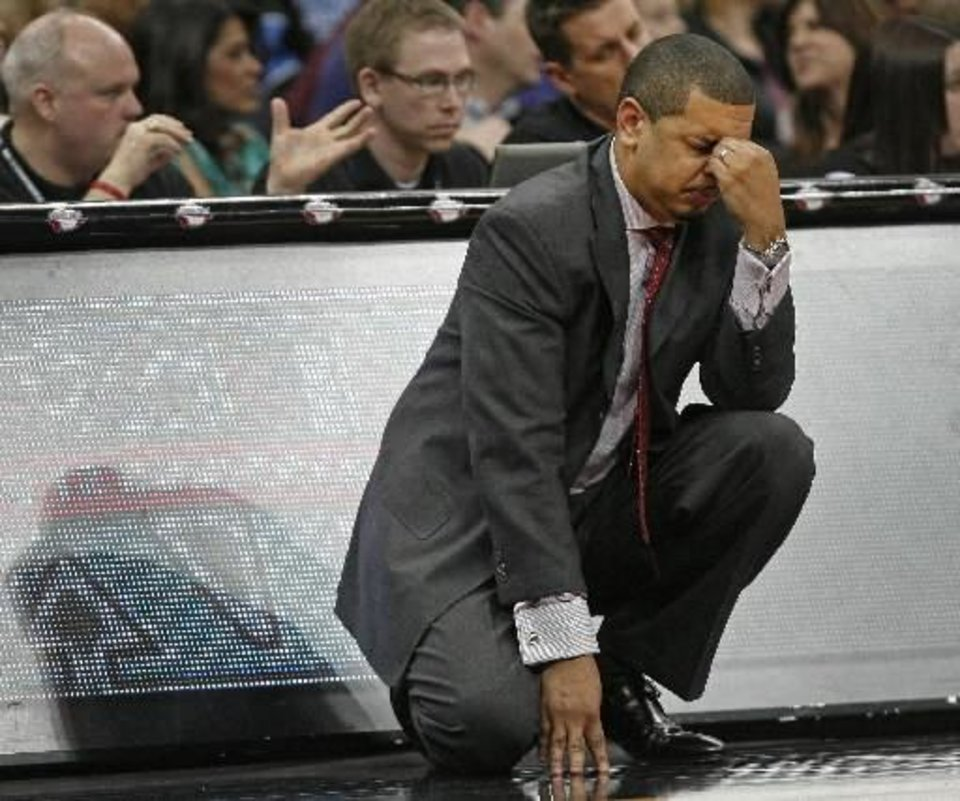 Photo - OU coach Jeff Capel reacts during the college basketball Big 12 Championship tournament game between the University of Oklahoma and Texas in Kansas City, Mo., Thursday, March 10, 2011. Photo by Bryan Terry, The Oklahoman
