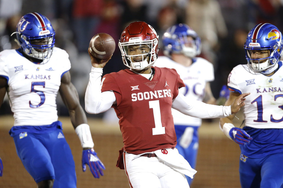 Photo - Oklahoma's Kyler Murray (1) celebrates after running 75 yards for a touchdown during a college football game between the University of Oklahoma Sooners (OU) and the Kansas Jayhawks (KU) at Gaylord Family-Oklahoma Memorial Stadium in Norman, Okla., Saturday, Nov. 17, 2018. Photo by Bryan Terry, The Oklahoman