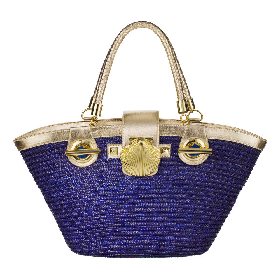 Photo -  Bali straw fish basket in navy/gold by Felix Rey, $39.99, at Target.