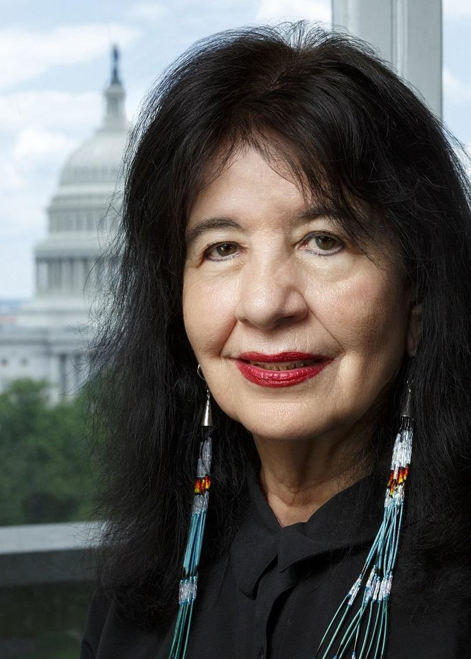 Photo - Poet Laureate of the United States Joy Harjo is a member of the Muscogee Creek Nation from Tulsa. [Photo by Shawn Miller/Library of Congress]