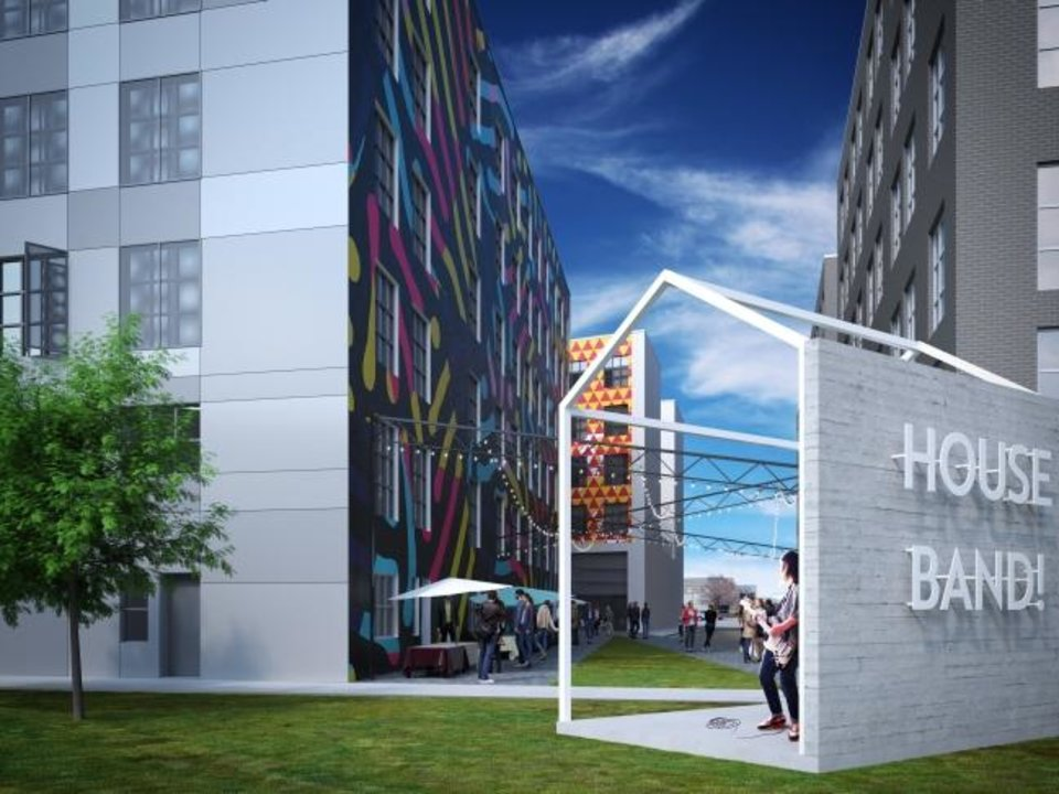 Photo -  The Alley's End development includes public performance and gathering spaces. Rendering by FSB.