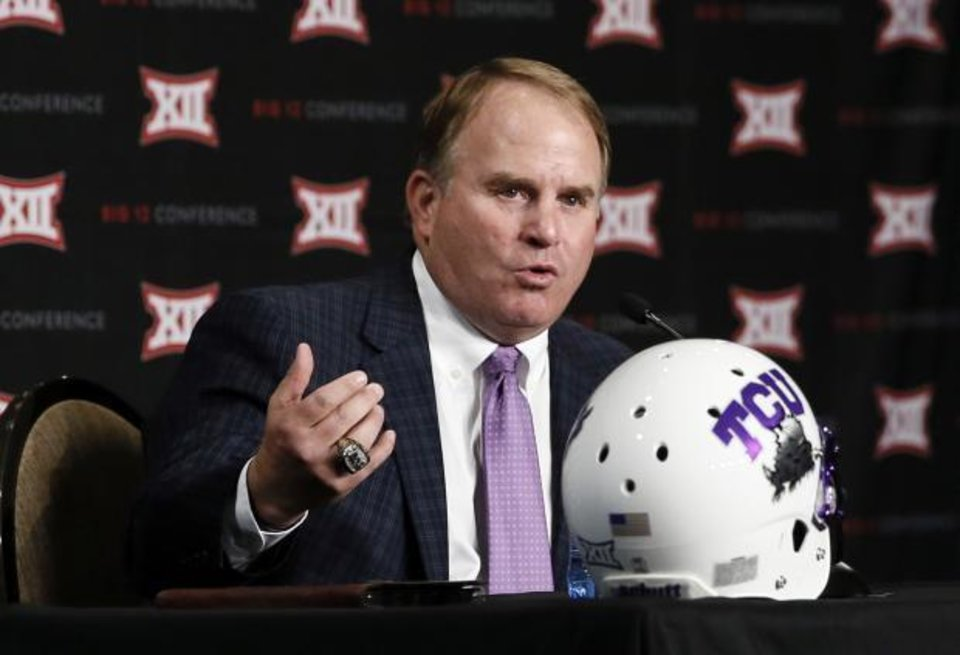 Photo - Gary Patterson talks to the Big 12 media Monday. (AP Photo)