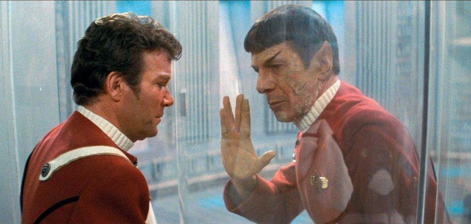 Photo -  William Shatner, left, and Leonard Nimoy appear in