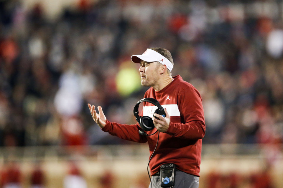 Photo - Oklahoma Sooners head coach Lincoln Riley reacts after a penalty on an extra point during the NCAA football game between the Texas Tech Red Raiders and the Oklahoma Sooners at Jones AT&T Stadium in Lubbock, Texas on Saturday, November 03, 2018. IAN MAULE/Tulsa World