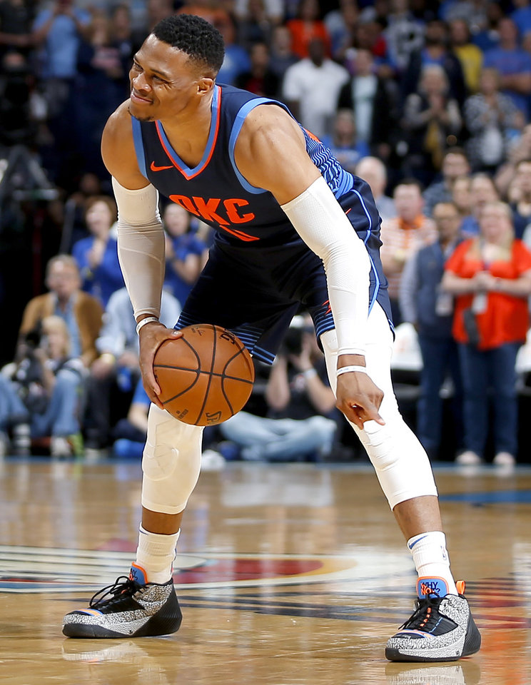 Photo - Oklahoma City's Russell Westbrook (0) gestures during an NBA basketball game between the Oklahoma City Thunder and the Sacramento Kings at Chesapeake Energy Arena in Oklahoma City, Sunday, Oct. 21, 2018. Photo by Bryan Terry, The Oklahoman