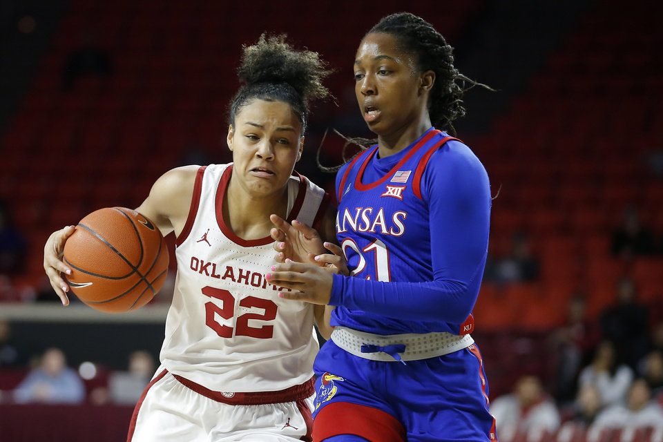 Photo - Oklahoma's Ana Llanusa (22) tries to get past Kansas' Brooklyn Mitchell (21) during an NCAA women's college basketball game between the University of Oklahoma Sooners (OU) and the Kansas Jayhawks at the Lloyd Noble Center in Norman, Okla., Wednesday, Feb. 26, 2020. Kansas won 83-80.[Bryan Terry/The Oklahoman]