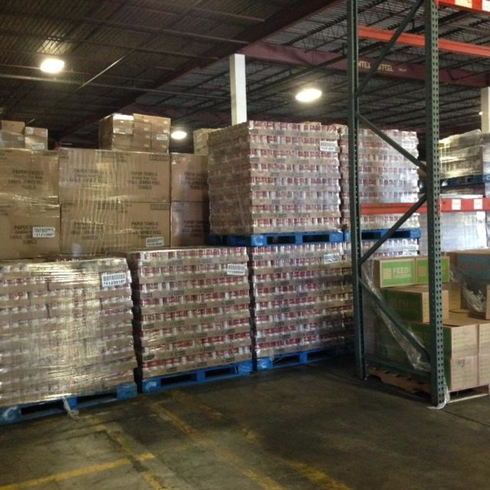 Photo -  Supplies are stacked in a Feed the Children warehouse in Oklahoma City. [Photo provided by Feed the Children]