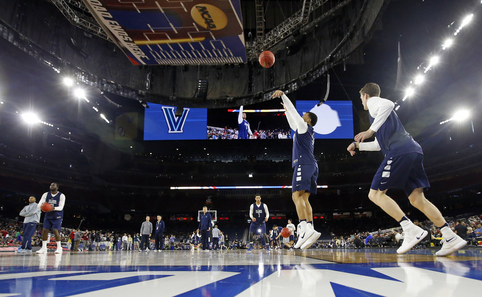 Photo - Villanova's Jalen Brunson (1) shoots during practice on Final Four Friday before the national semifinal between the Oklahoma Sooners and the Villanova Wildcats in the NCAA Men's Basketball Championship at NRG Stadium in Houston, Friday, April 1, 2016. OU will play Villanova in the Final Four on Saturday. Photo by Nate Billings, The Oklahoman