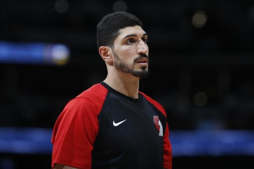 Photo -  Portland Trail Blazers center Enes Kanter (00) in the second half of an NBA basketball game Friday, April 5, 2019, in Denver. The Nuggets won 119-110. (AP Photo/David Zalubowski)