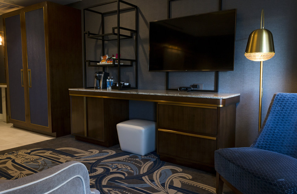 Photo -  This is one of two different room models that were recently built in the First National tower to guide design of The National, an Autograph by Marriott hotel set to open at First National in 2020.