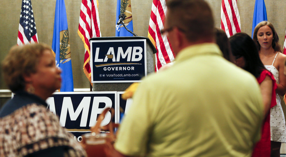 Photo - People mingle at the watch party for Lt. Gov. Todd Lamb, Republican candidate for governor, at the Renaissance Waterford Oklahoma City Hotel in Oklahoma City, Tuesday, June 26, 2018. Photo by Nate Billings, The Oklahoman