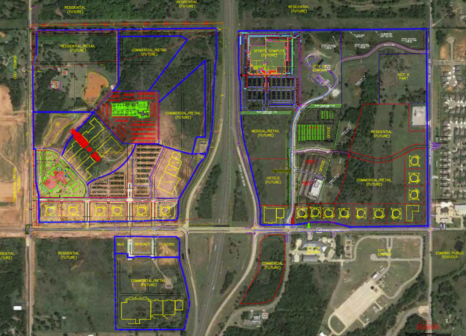 Photo -  This map shows future development of the Covell Road and Interstate 35 area. [PHOTO PROVIDED]