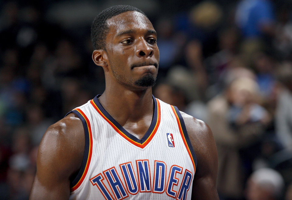 Photo - Oklahoma City's Jeff Green reacts to the Thunder's loss in final minutes of the NBA basketball game between the Oklahoma City Thunder and Utah Jazz in the Oklahoma City Arena on Sunday, Oct. 31, 2010. Photo by Sarah Phipps, The Oklahoman