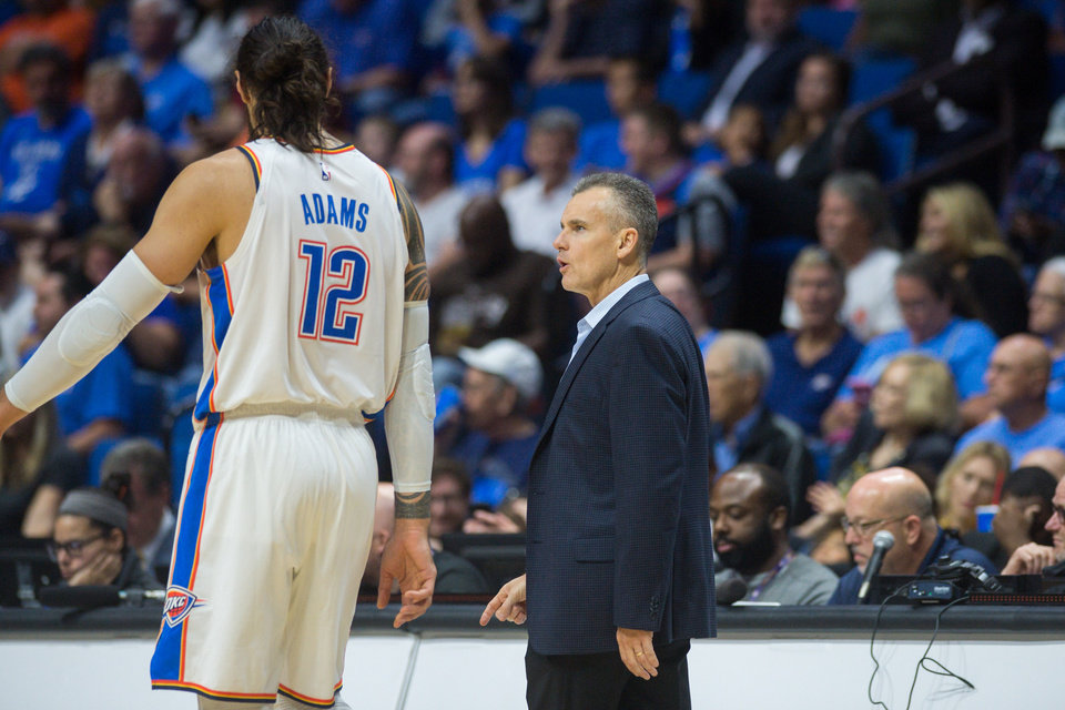 Photo - Oklahoma City Thunder head coach Billy Donovan talks to Oklahoma City Thunder center Steven Adams (12) during the game against the Atlanta Hawks at the BOK Center in Tulsa, OK on 10/7/18.  BRETT ROJO/For the Tulsa World
