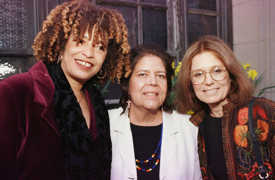 Photo - DEATH / WILMA MANKILLER DIED TUESDAY, APRIL 6, 2010 / ANGELA DAVIS: Featured speakers at a benefit for the Boston Women's Fund forum  entitled