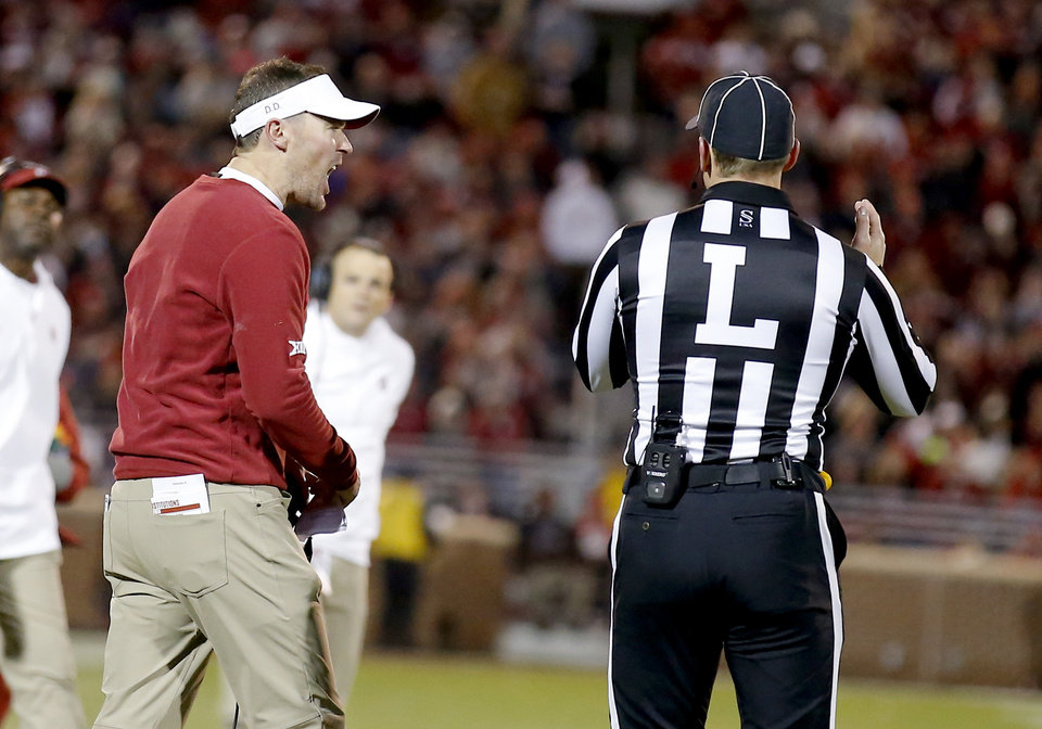 Photo - Oklahoma head coach Lincoln Riley argues for a call during an NCAA football game between the University of Oklahoma Sooners (OU) and the TCU Horned Frogs at Gaylord Family-Oklahoma Memorial Stadium in Norman, Okla., Saturday, Nov. 23, 2019. OU won 28-24. [Sarah Phipps/The Oklahoman]