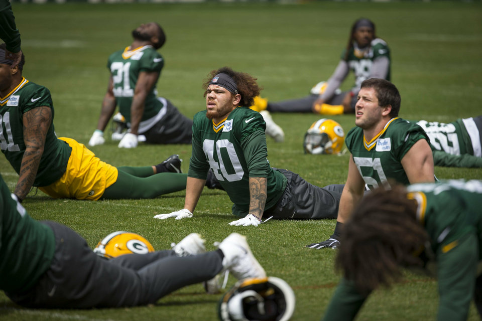 Photo - Green Bay Packers Curtis Bolton during NFL football OTA practice Tuesday May 21, 2019 in Green Bay, Wis.. (AP Photo/Mike Roemer)