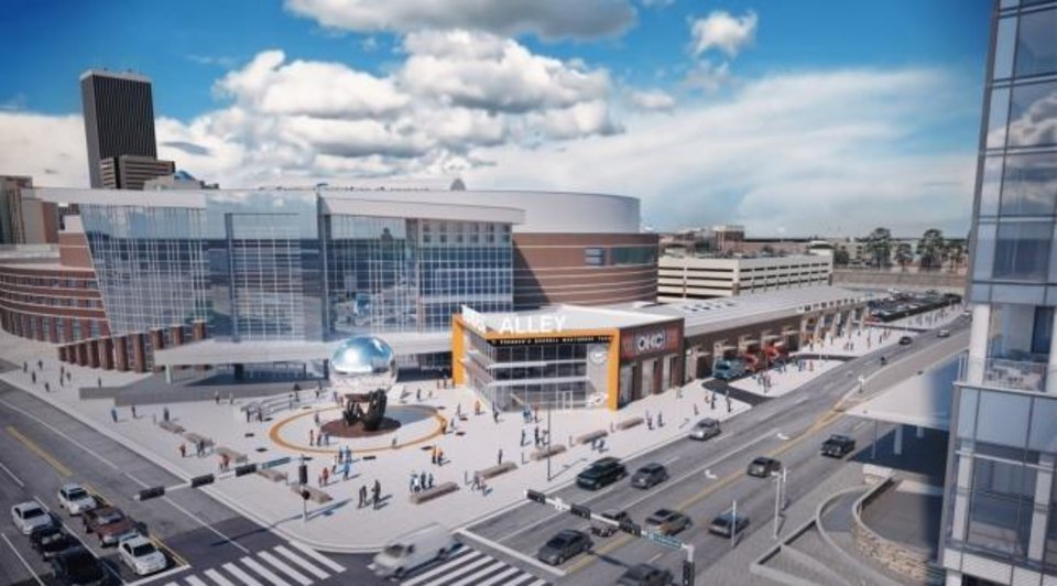 Photo -  The proposed Thunder Alley Entertainment Zone will include restaurants and an indoor public basketball court. [Rendering by Bockus Payne Architects]