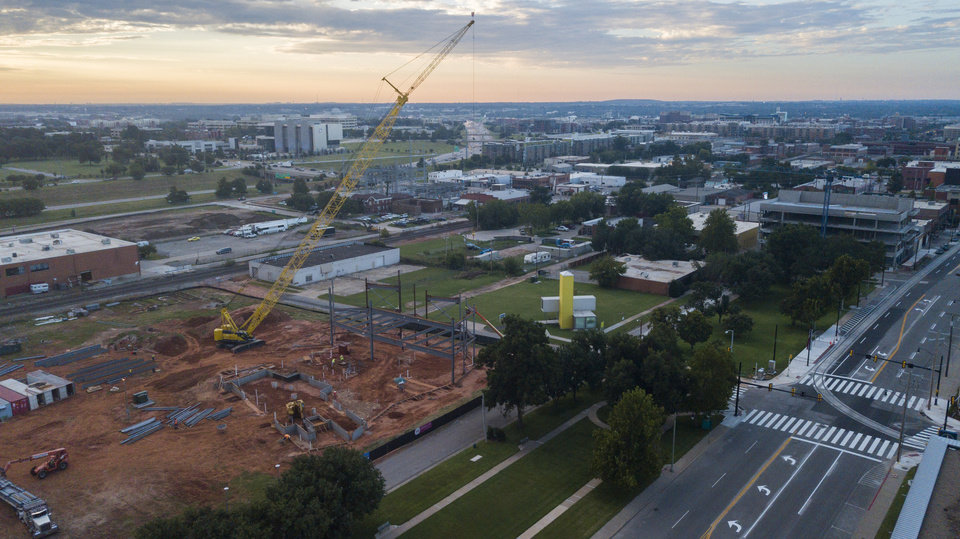 Photo -  Steel construction at the future home of Oklahoma Contemporary can be seen in this recent photo taken from a drone. [Photo by Dave Morris, The Oklahoman]