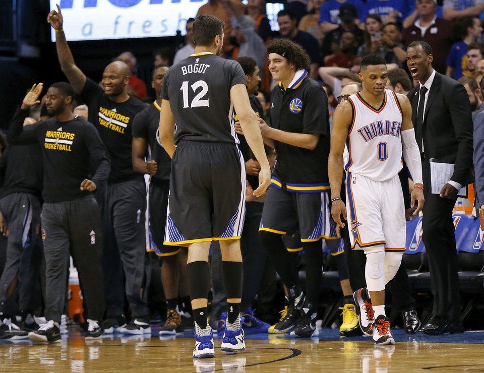 Photo - Oklahoma City's Russell Westbrook (0) leaves the court after missing a 3-point shot as time expired in overtime of an NBA basketball game between the Oklahoma City Thunder and the Golden State Warriors at Chesapeake Energy Arena in Oklahoma City, Saturday, Feb. 27, 2016. Golden State won 121-118 in overtime. Photo by Nate Billings, The Oklahoman