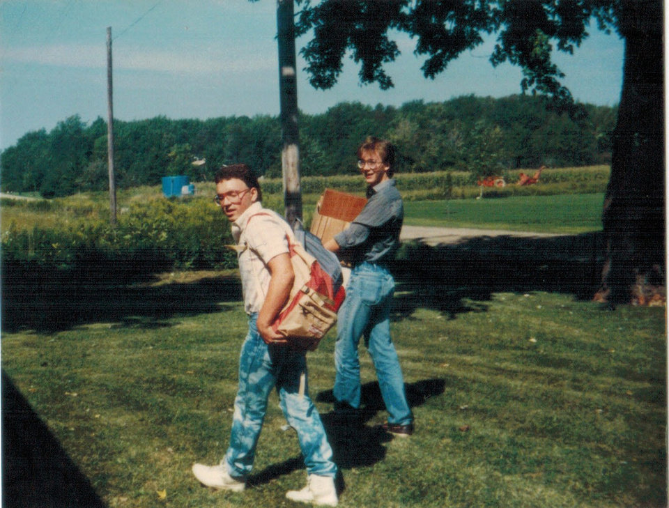 Photo -  Jim, left, and Ken Raymond in a photo from their high school days.