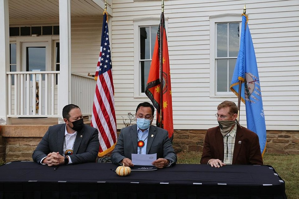 Photo - The Cherokee Nation announced today plans to purchase the historic Will Rogers Birthplace Museum in Rogers County. A small signing ceremony took place at the museum today to coincide with Will Rogers' birthday and formalize the acquisition from the Oklahoma Historical Society. [Photo provided]