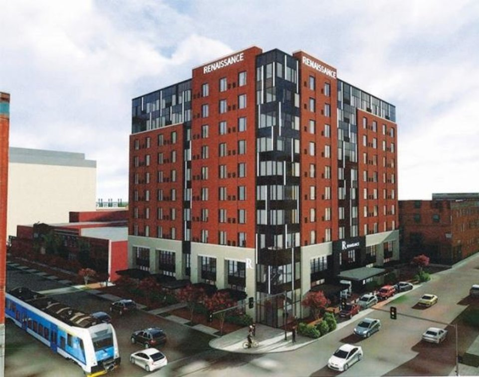 Photo -  Bricktown's first full-service hotel, a 10-story Renaissance Hotel, is set to open by early 2021 at the southeast corner of Sheridan and Oklahoma Avenues. [PROVIDED]
