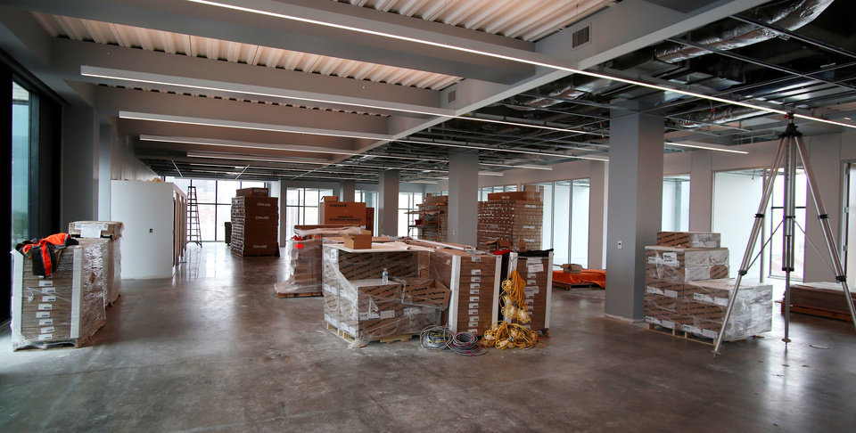 Photo - 6th floor. Heartland building progress in downtown at 5th and Broadway, Wednesday, May 13, 2020. [Doug Hoke/The Oklahoman]