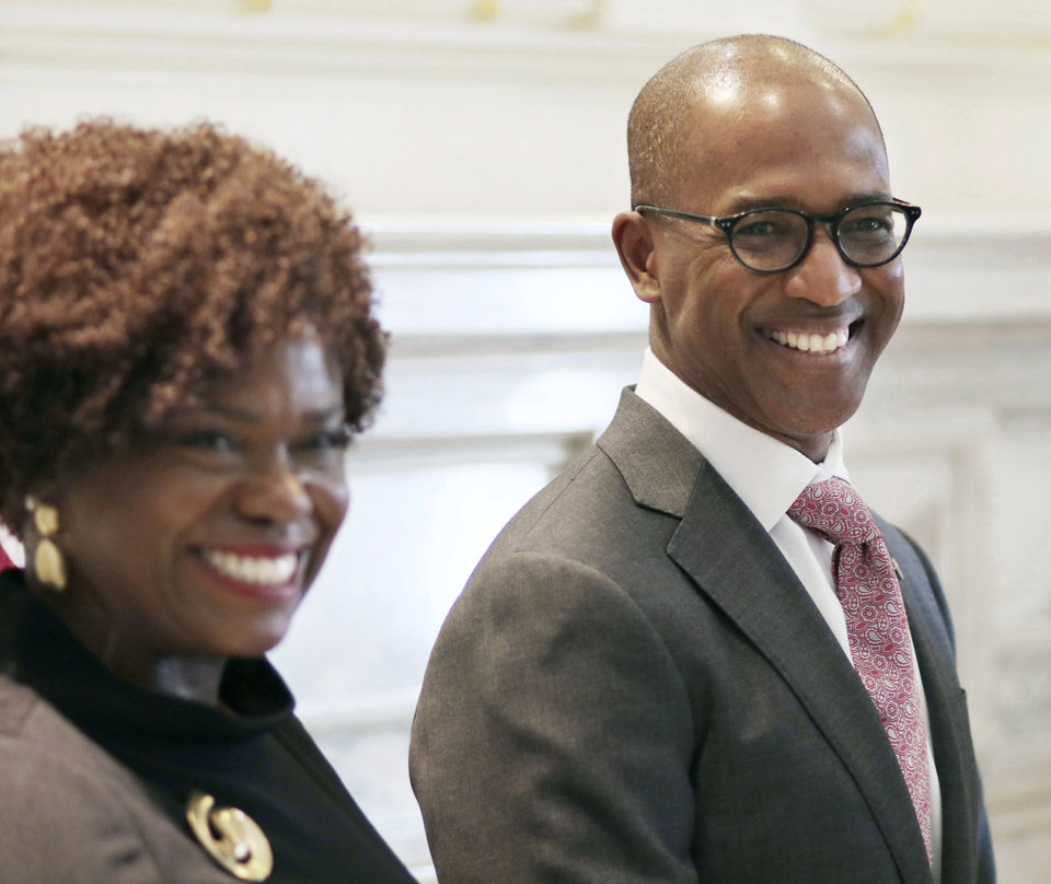 Photo -  In this March 1, 2019 file photo Eric Stevenson stands with his wife Davia in the Blue Room at the Capitol in Oklahoma City, Okla. Gov. The Oklahoma Senate has confirmed Gov. Kevin Stitt's pick of Stevenson, the first African American to serve on the University of Oklahoma Board of Regents in 20 years. The Senate voted 45-1 on Monday to confirm Stevenson, an Ohio business executive. [DOUG HOKE/THE OKLAHOMAN]