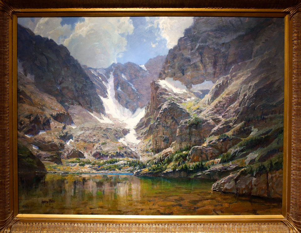 "Photo - Iowa artist Andrew Peters and his oil painting, ""The Lake of Glass,"" were honored as this year's Prix de West winner at the National Cowboy and Western Heritage Museum on Saturday, June 13, 2015. Peters, 60, from Council Bluffs, used a setting in Rocky Mountain National Park as the inspiration for his 30"" x 40' piece of art. Photo by Jim Beckel, The Oklahoman."