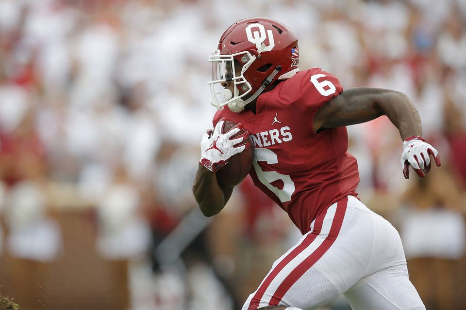 Oklahoma s Tre Brown (6) returns a kickoff during a college football game  between the University of Oklahoma Sooners (OU) and the UCLA Bruins at  Gaylord ... eca582b18