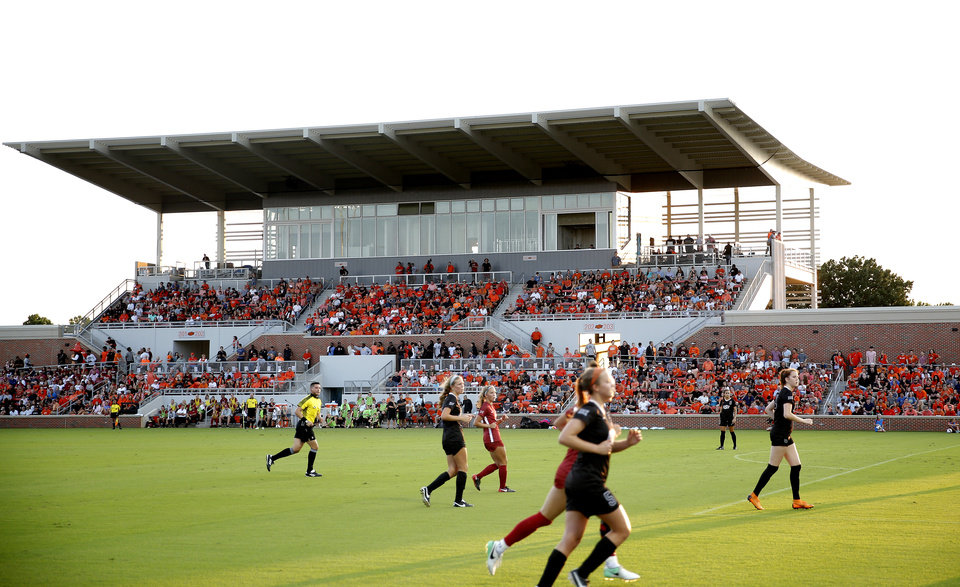 Photo - The Neal Patterson Stadium is pictured during the Bedlam soccer game between the Oklahoma State Cowgirls and Oklahoma Sooners at the Neal Patterson Stadium in Stillwater, Okla.,  Sunday, Aug. 19, 2018. Photo by Sarah Phipps, The Oklahoman