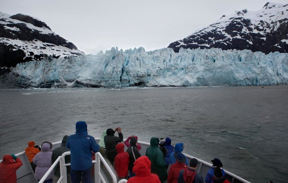 Photo -  People observe the Margerie Glacier in Glacier Bay National in Alaska, Thursday, June 7, 2012.  Photo by Sarah Phipps, The Oklahoman