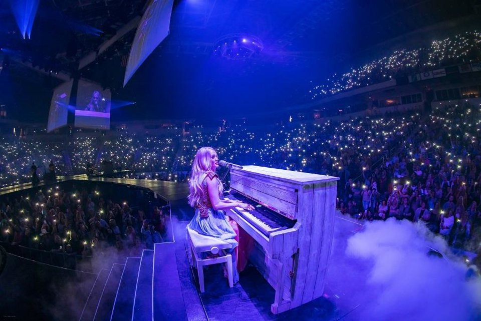 "Photo - Carrie Underwood performs ""See You Again"" during her crowd-pleasing two-hour set in Little Rock, Arkansas. [Photo by Ralph Larmann]"