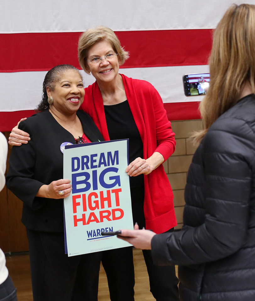 "Photo - Brenda Perry poses for a ""selfie"" with Sen. Elizabeth Warren after a rally  in Oklahoma City at Northwest Classen High School, her alma mater, Sunday, December 22, 2019. [Photo by Doug Hoke/The Oklahoman]"
