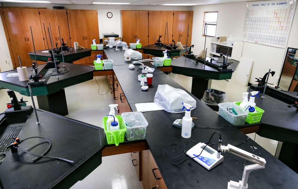 Photo - A science lab at the new location of Seminole High School in Seminole, Okla., on Tuesday, Feb. 28, 2017. A new charter school The Academy of Seminole will soon offer another option for students after it was initially rejected by the local school board, but won an appeal to the state school board to open for the school year next Fall.  Photo by Chris Landsberger, The Oklahoman