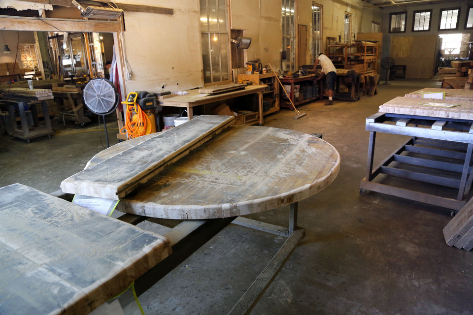... Photo   These Table Tops At Urban Farmhouse In Oklahoma City Are Being  Prepared For Finishing